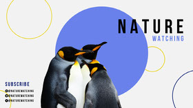 Blue Geometric Nature YouTube Channel Art with Penguins Banner do YouTube