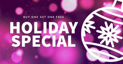 Purple and White Sparkling Holiday Offer Facebook Banner Bogo