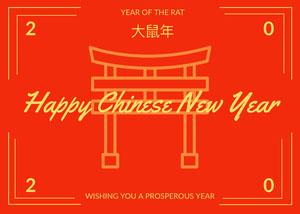 Orange and Yellow Happy Chinese New Year Card Chinese New Year