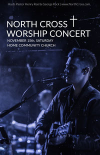 Blue Worship Concert Church Flyer with Singer with Guitar Kerkflyer