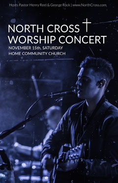 Blue Worship Concert Church Flyer with Singer with Guitar Sunday