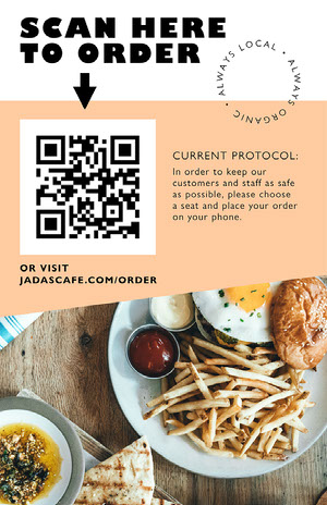 Orange Geometric and Food Photo Restaurant Safety Measures Flyer COVID-19 Re-opening