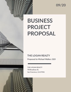 Beige Business Proposal with Skyscraper Photo Architecture