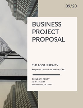 Beige Business Proposal with Skyscraper Photo 提案報告