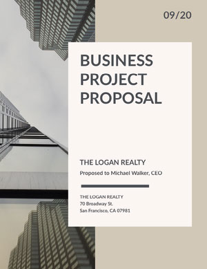 Beige Business Proposal with Skyscraper Photo Business Plan