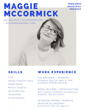 Blue Industrial Designer Resume with Woman Currículo criativo