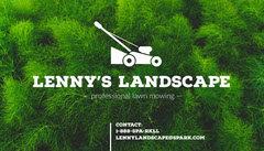 Green and White Lawn Mowing Service Business Card Landscape