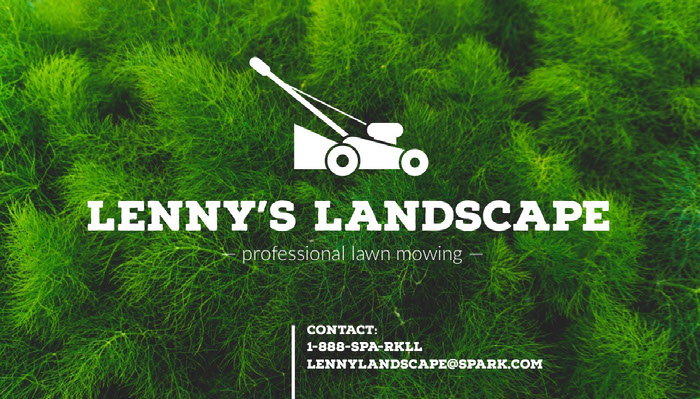 Green and White Lawn Mowing Service Business Card Idées de carte de visite