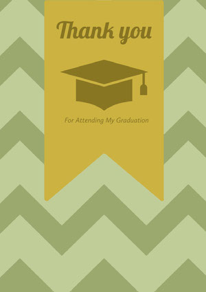 Green and Yellow Thank You Card Graduation Card