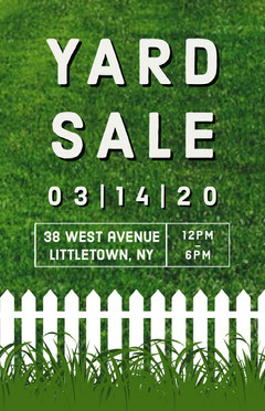 Green and White Grass Yard Sale Poster Sale Flyer