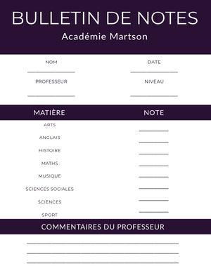 academy report cards  Bulletin de notes
