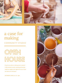 White Open House Community Studio Flyer Open House Flyer