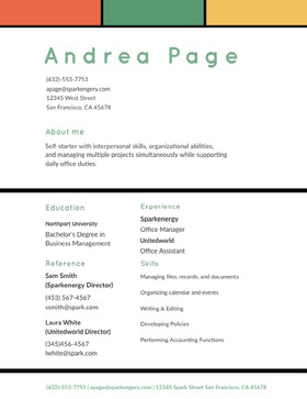 Green and White Woman's Resume Modern Resume