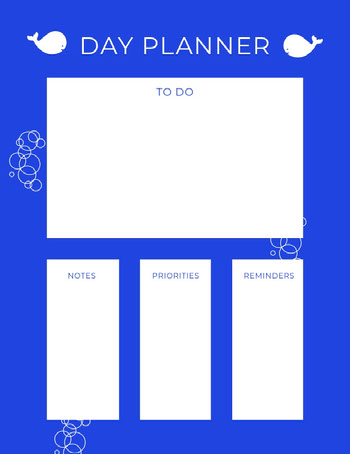 White and Blue Empty Daily Planner Card COVID-19