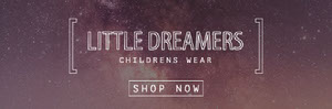 Night Sky Photo Children Clothing Store Horizontal Ad Banner Volantino pubblicitario