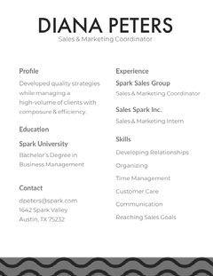 Black and White Diana Peters Resume Marketing