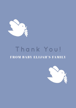 White and Navy Blue Thank You Card Baby Shower Card