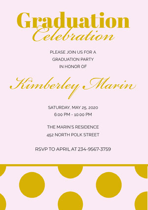 Gold Elegant Polka Dot Calligraphy Graduation Party Invitation Card Convite para formatura