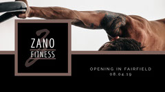 Black and White Fitness Club Facebook Advertisement Grand Opening Flyer