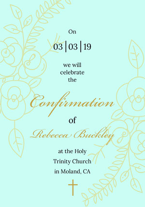 Blue and Gold, Ornate Confirmation Announcement Card Confirmation Annoucement