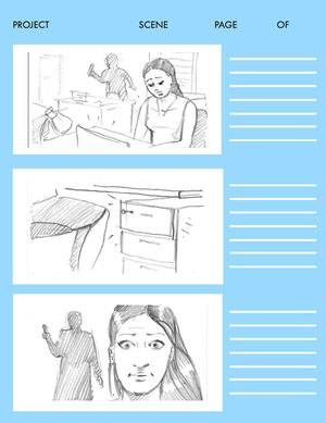 Blue Three Panel Storyboard Storyboard