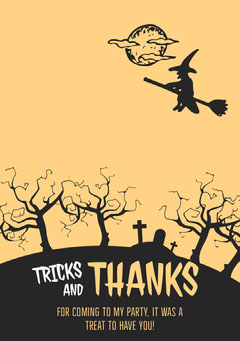 Witch Graveyard Halloween Party Thank You Card Halloween Party Thank you Card