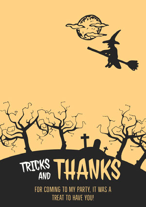 Yellow and Black Spooky Witch, Trees and Graveyard Halloween Party Thank You Card Halloween Party