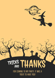 Witch Graveyard Halloween Party Thank You Card Halloween Party