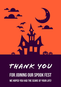 Haunted House Halloween Party Thank You Card Halloween Party Thank you Card