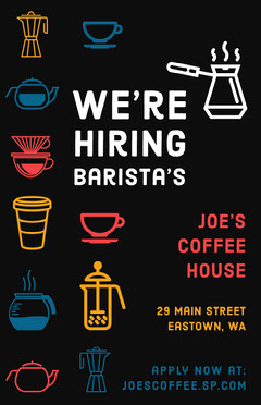 Black and Colorful Barista Coffee Cafe Job Poster Job Poster
