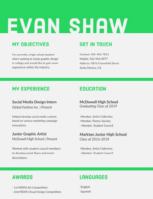 Bright Green High School Student Resume Resume  Examples