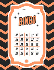 Orange Zig Zag Halloween Party Bingo Card Festa di Halloween