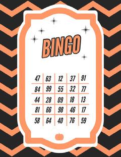 Orange Zig Zag Halloween Party Bingo Card Halloween Party Bingo Card