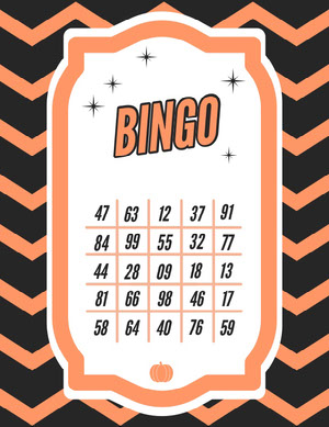 Halloween Horror Party Bingo Card Bingokort