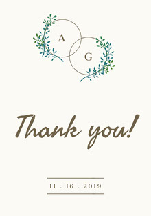 Double Circle Initials Wedding Thank You Card Bryllupstakkekort