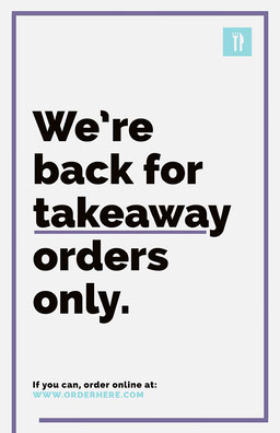 Purple and Cyan We're Back Takeaway Poster