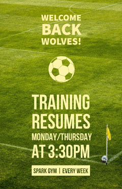 Green School Soccer Team Training Flyer Soccer