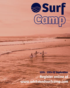 Sepia Toned Surfing Camp Instagram Portrait with Photo of Sea Camping