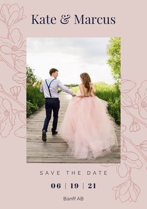 floral pink wedding save the date a5 Save the Date