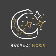 Gold and White Harvest Moon Logo Moon