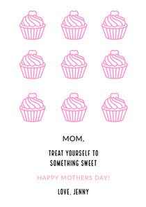 Pink Illustrated Mothers Day Card with Cupcakes Cartão de Dia das Mães