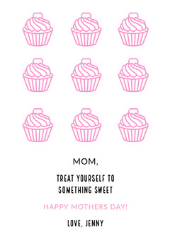 Pink Illustrated Mothers Day Card with Cupcakes Dessert