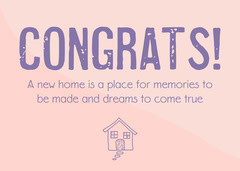Pink & Purple New Home Card Congratulation