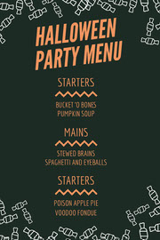 Orange and Black Candy Halloween Party Menu Festa di Halloween