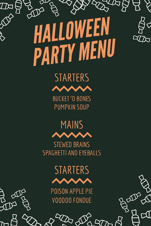 Orange and Black Candy Halloween Party Menu Halloween Party