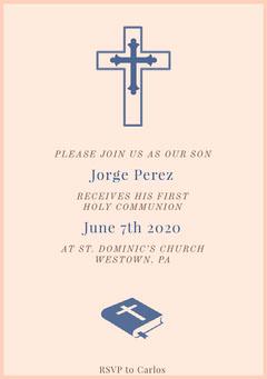 Blue and White Communion Invitation Religion