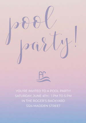 Pink and Blue Pool Party Invitation Card Party Invitation