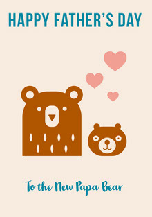 Brown and Blue Illustrated Fathers Day Card with Bears Cartões de Dia dos Pais