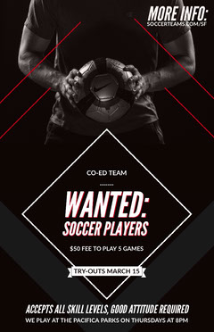 Soccer Player Wanted Flyer with Man Holding Ball Job Poster