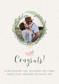 Light Green Floral Photo Wedding Congratulations Card Congratulations Messages